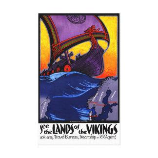 Poster del viaje del vintage de Escandinavia Lienzo
