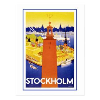 """Poster del viaje del vintage de """"Estocolmo"""" Postal"""