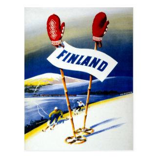Poster del viaje del vintage de Finlandia Postal