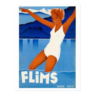 Poster del viaje del vintage de Flims Suiza Postal
