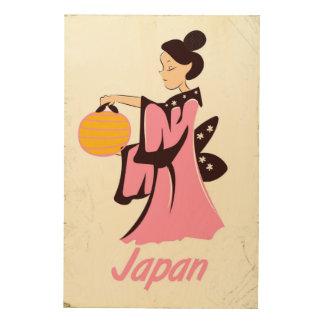 Poster del viaje del vintage de Japón del chica de Impresión En Madera