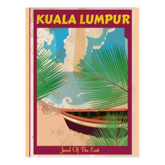 Poster del viaje del vintage de Kuala Lumpur Postal