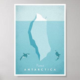 Poster del viaje del vintage de la Antártida Póster