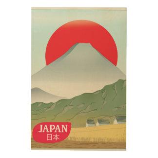 Poster del viaje del vintage de la montaña de impresión en madera