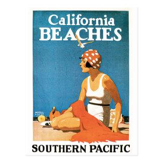 Poster del viaje del vintage de las playas de postal