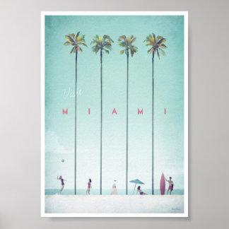 Poster del viaje del vintage de Miami Póster