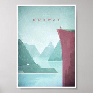 Poster del viaje del vintage de Noruega Póster