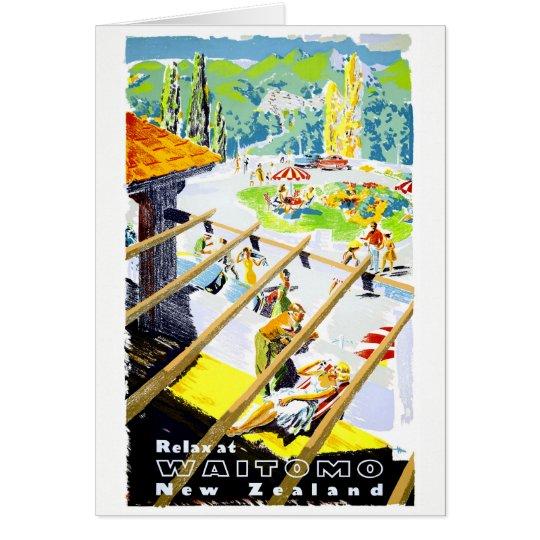 Poster del viaje del vintage de Nueva Zelanda Tarjeta De Felicitación