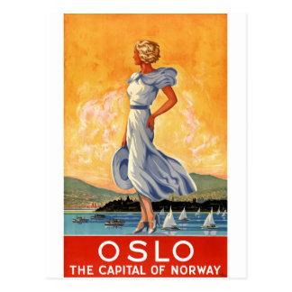 Poster del viaje del vintage de Oslo Noruega Postal