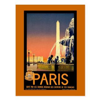 Poster del viaje del vintage de París Postal