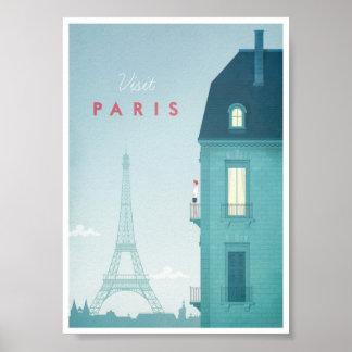 Poster del viaje del vintage de París Póster