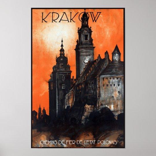 Poster del viaje del vintage de Polonia Kraków Póster