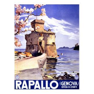 Poster del viaje del vintage de Rapallo Génova Postal