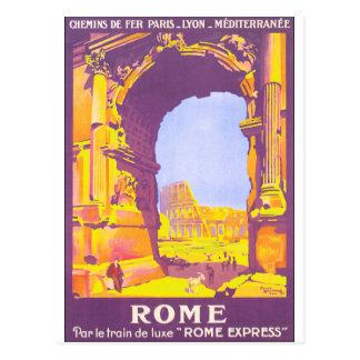 Poster del viaje del vintage de Roma Postal