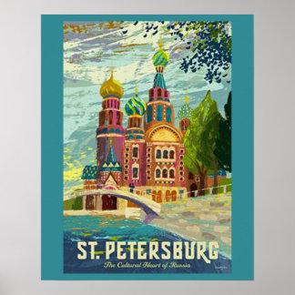 Poster del viaje del vintage de St Petersburg