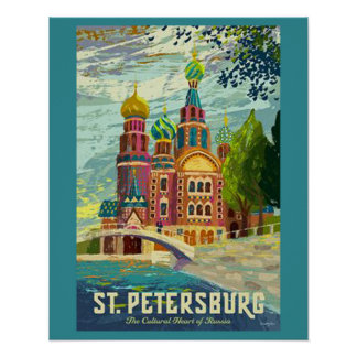 Poster del viaje del vintage de St Petersburg Póster