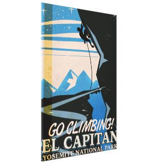 Poster del viaje del vintage del EL Capitan Impresión En Lienzo Estirada