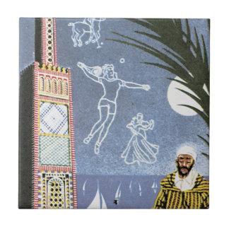 Poster del viaje del vintage del EL Minzah del Azulejo Cuadrado Pequeño