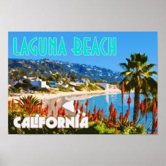 Poster del viaje del vintage del Laguna Beach Póster