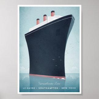 Poster del viaje del vintage del revestimiento póster