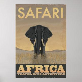 Poster del viaje del vintage del safari de África Póster