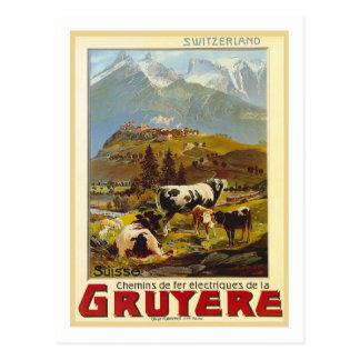 Poster del viaje del vintage, gruyere postal