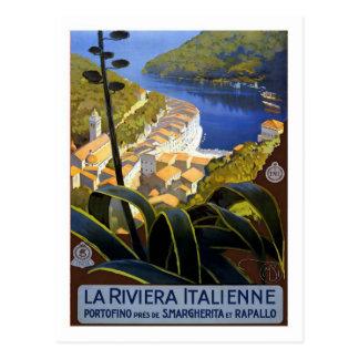 Poster del viaje del vintage, italiano Riviera Postal