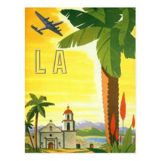 Poster del viaje del vintage, Los Ángeles, Califor Tarjeta Postal