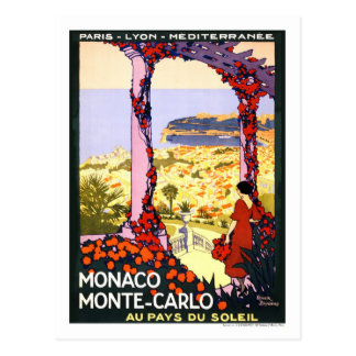Poster del viaje del vintage, Monte Carlo Postal
