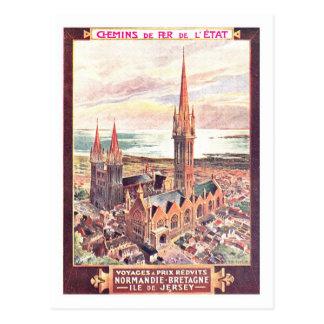 Poster del viaje del vintage, Normandía Postal