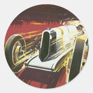 Poster del viaje del vintage, raza auto de Mónaco Etiqueta Redonda