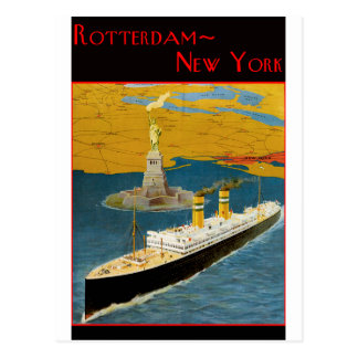 Poster del viaje del vintage: Rotterdam - Nueva Yo Postal
