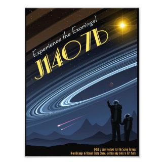 Poster del viaje espacial de J1407b Cojinete