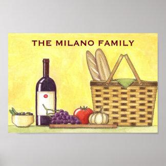 Poster del vino, del pan y del aceite póster