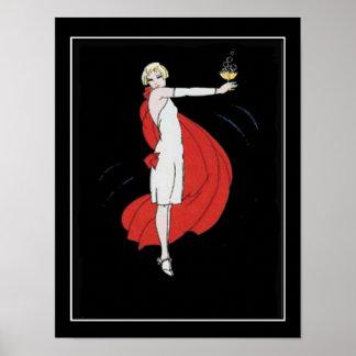Poster del vintage de la chica marchosa del art dé póster