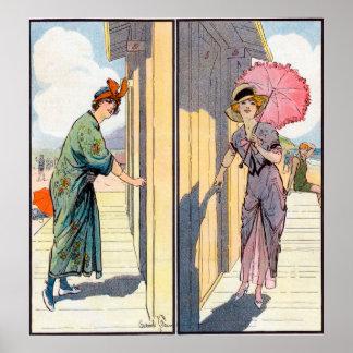 Poster del vintage de la mujer del encanto póster