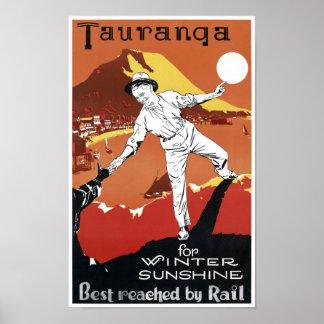 Poster del vintage de Nueva Zelanda Tauranga Póster