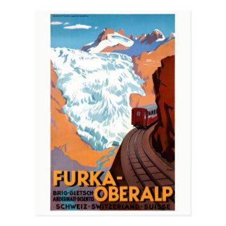 Poster del vintage de Suiza Furka Oberalp Postal