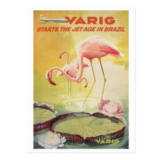 Poster del vintage de Varig para la postal del