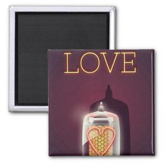 """Poster del vintage del """"amor"""" del tubo de Nixie Imán"""
