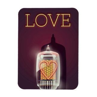 """Poster del vintage del """"amor"""" del tubo de Nixie Imán Flexible"""