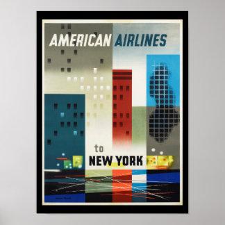 Poster del vintage del art déco de Nueva York Póster