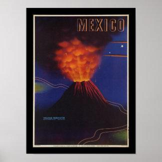 Poster del vintage del art déco del volcán de póster