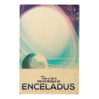 Poster del vintage del viaje espacial de Enceladus Impresión En Madera