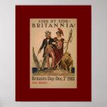 Poster del vintage WW1 Brittania