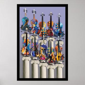 Poster del violín, arte de la pared de la música