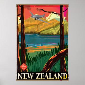 Poster del vuelo del vintage de Nueva Zelanda Póster