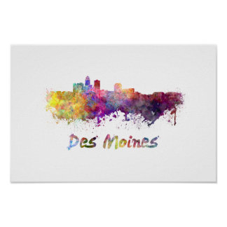 Póster Des Moines skyline in watercolor