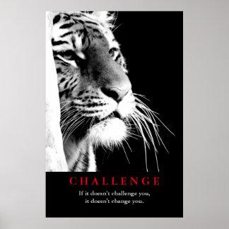 Póster Desafío de motivación del tigre negro y blanco
