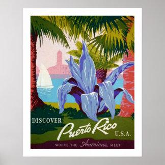 Póster Descubra el viaje, historia de Puerto Rico